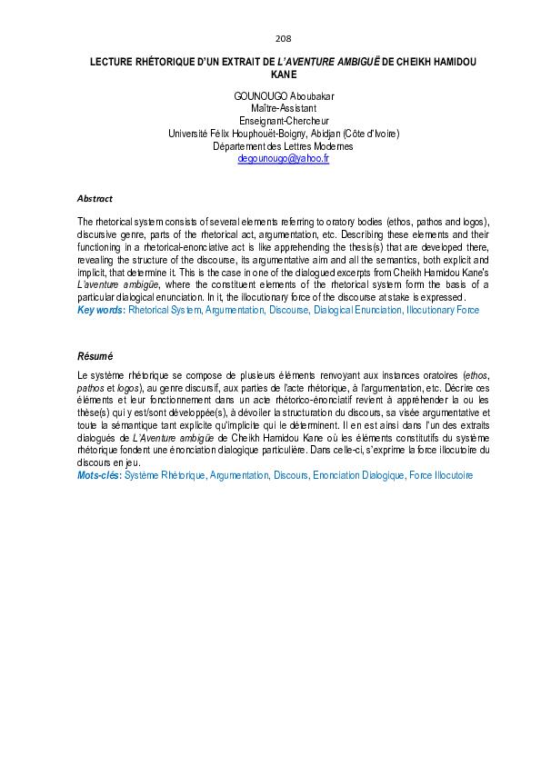 Pdf Lecture Rhetorique D Un Extrait De L Aventure Ambigue De Cheikh Hamidou Kane Aboubakar Gounougo Academia Edu