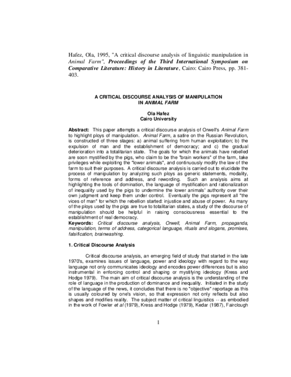 Essays on animal farm critical analysis essays on waste segregation