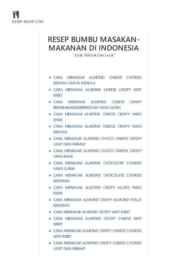 Pdf Resep Bumbu Masakan Makanan Di Indonesia Jual Keju Bubuk Cheese Powder Saus Keju Cheese Cream Sauce Harga Murah Distributor 0813 1435 1985 Academia Edu