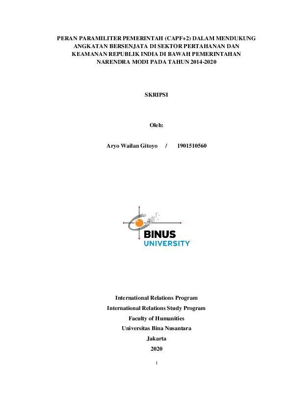 Skripsi Hubungan Internasional Research Papers Academia Edu