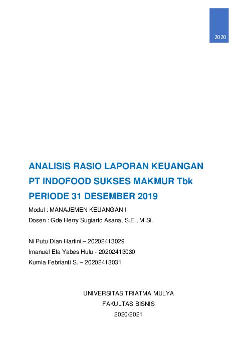 Pdf Analisis Rasio Keuangan Dan Contoh Kasus Yabes Hulu Academia Edu