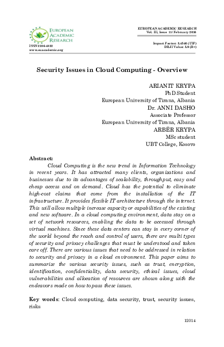 Cloud Computing Security Research Papers Academia Edu