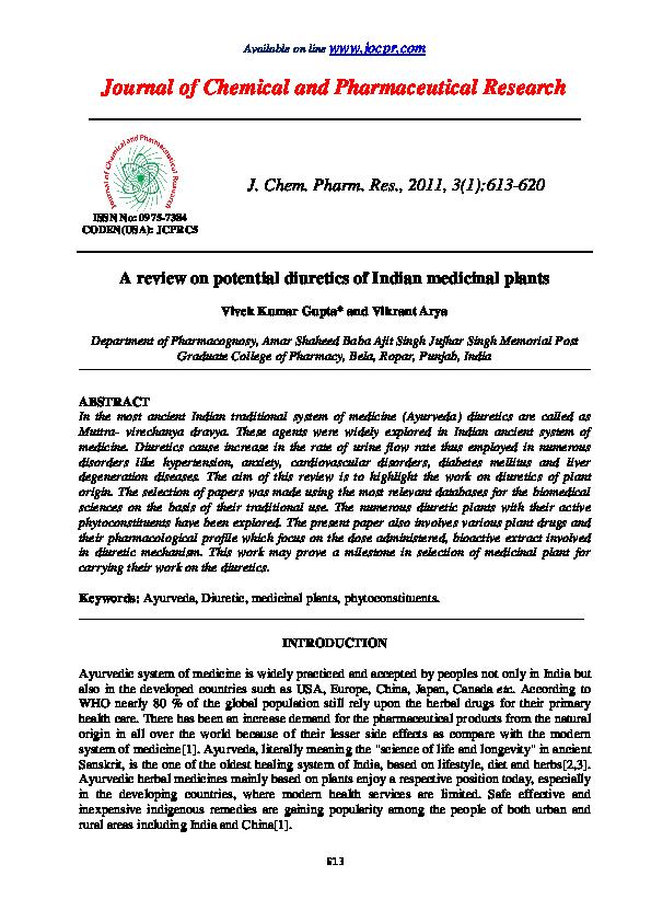 PDF) A review on potential diuretics of Indian medicinal