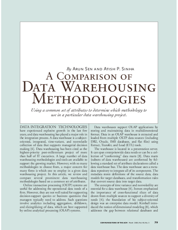 PDF) Data Warehousing Methodologies | Vijay Gupta - Academia edu
