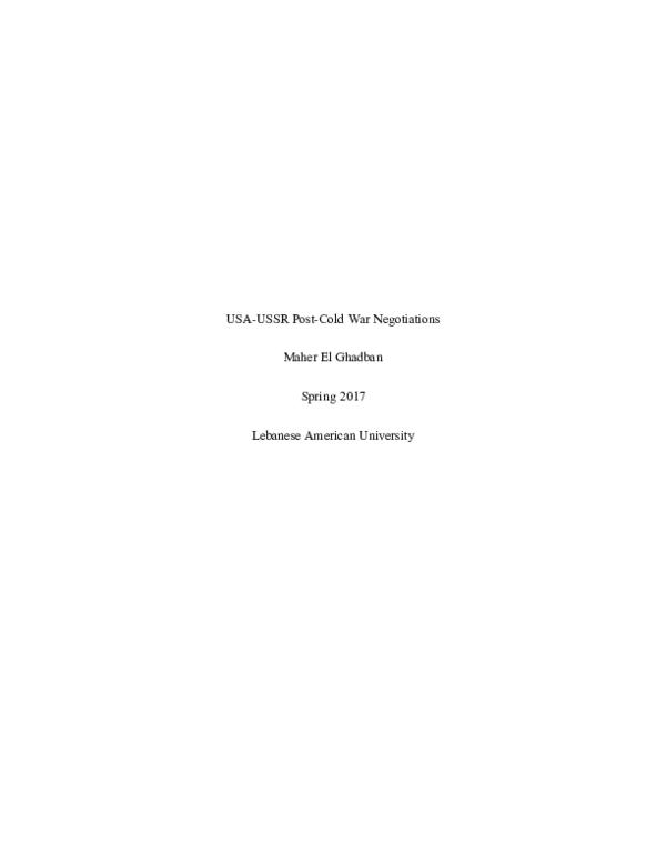 USA-USSR Post-Cold War Negotiations