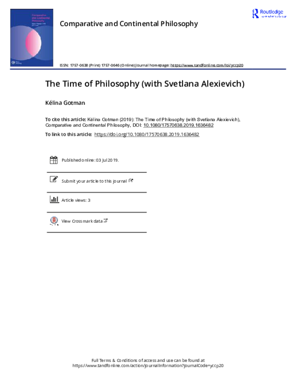 Pdf The Time Of Philosophy With Svetlana Alexievich Kelina Gotman Academia Edu