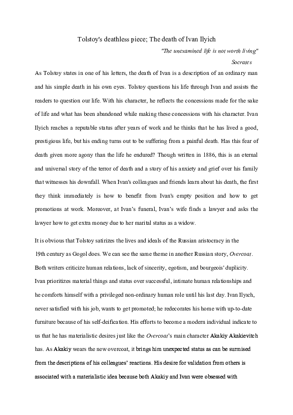 The Death Of Ivan Ilych Research Paper Academia Edu Writing A Critical Essay On Leo Tolstoy Ilyich