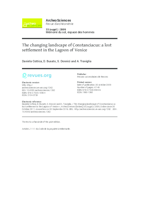 Pdf The Changing Landscape Of Constanciacus A Lost Settlement In The Lagoon Of Venice Daniela Cottica Academia Edu