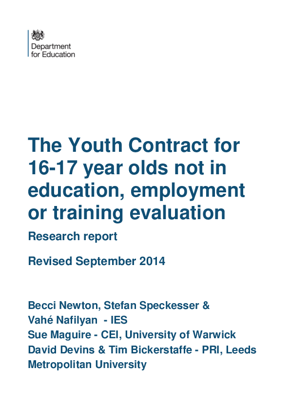 Pdf The Youth Contract For 16 17 Year Olds Not In Education Employment Or Training Evaluation Tim Bickerstaffe Academia Edu