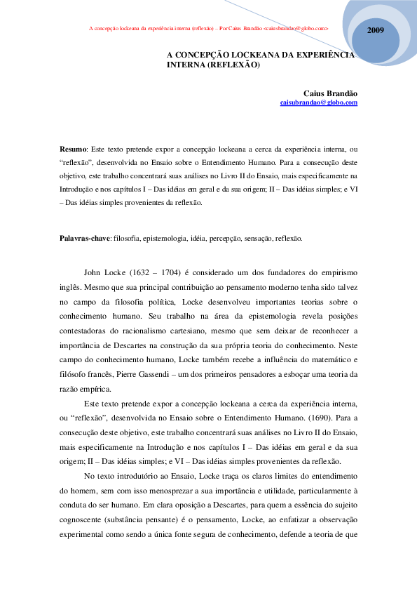 ENTENDIMENTO SOBRE LIVRO ENSAIO LOCKE BAIXAR HUMANO-JOHN O