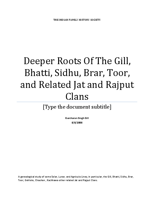 PDF) Deeper Roots Of The Gill, Bhatti, Sidhu, Brar, Toor, and