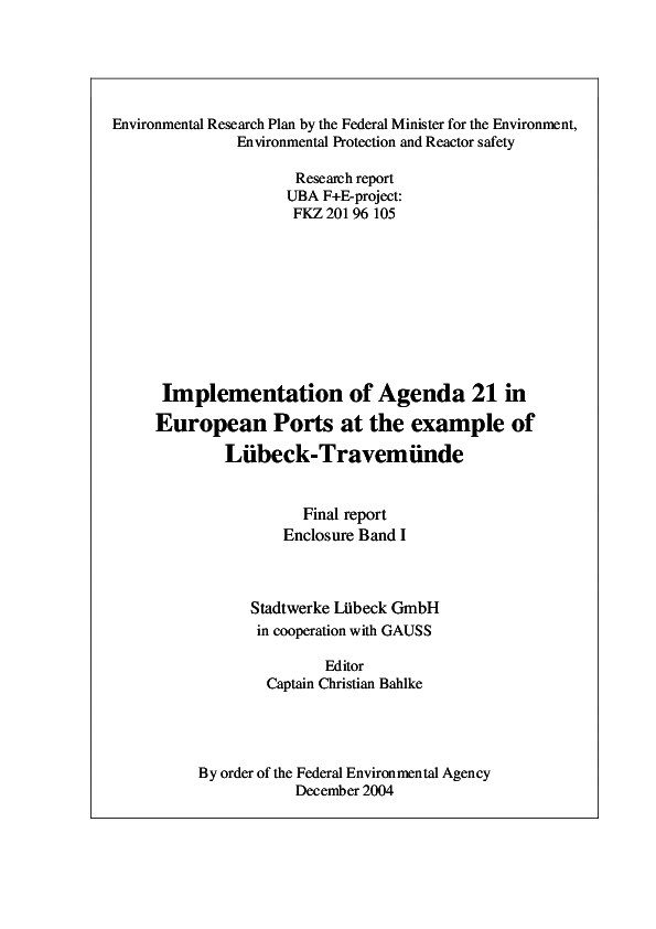 PDF) Implementation of Agenda 21 in European Ports at the