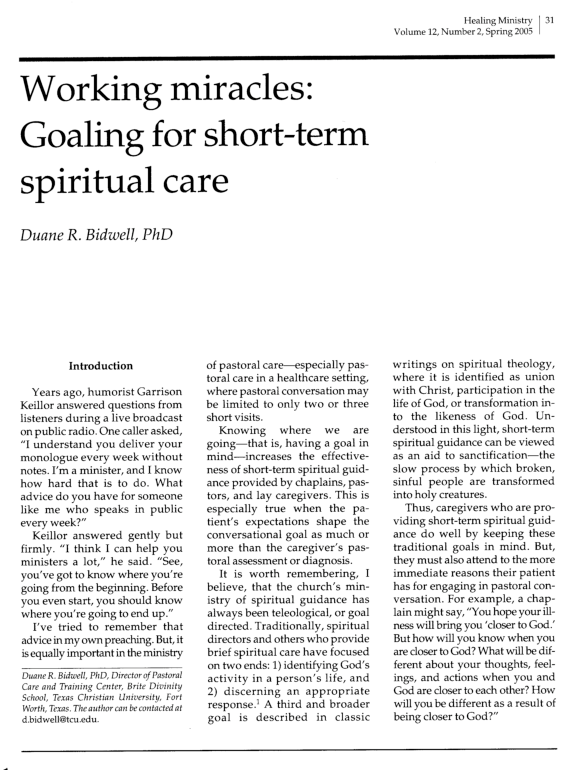 PDF) Working Miracles, Goaling for Short-term Spiritual Care