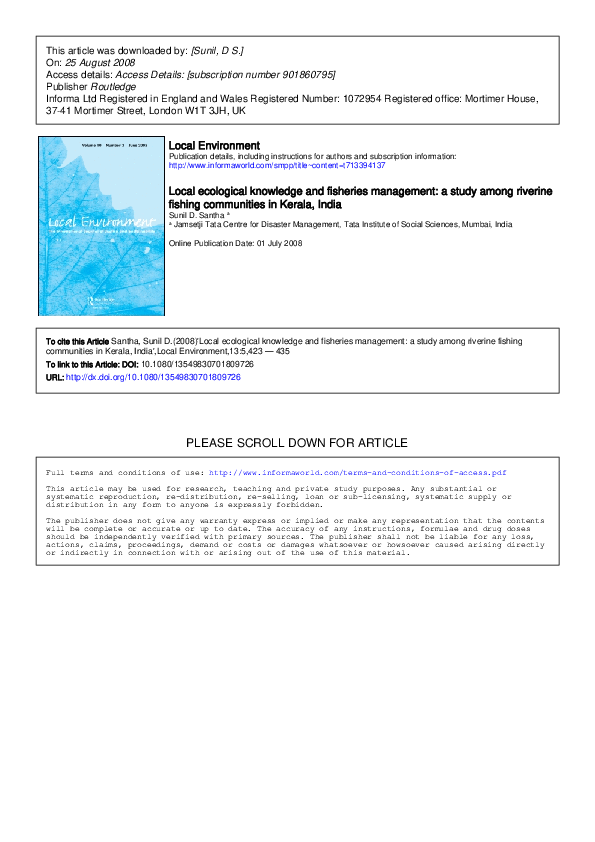 PDF) Local ecological knowledge and fisheries management: a