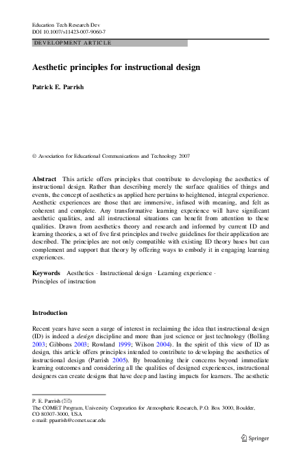 Pdf Aesthetic Principles For Instructional Design Patrick E Parrish Academia Edu