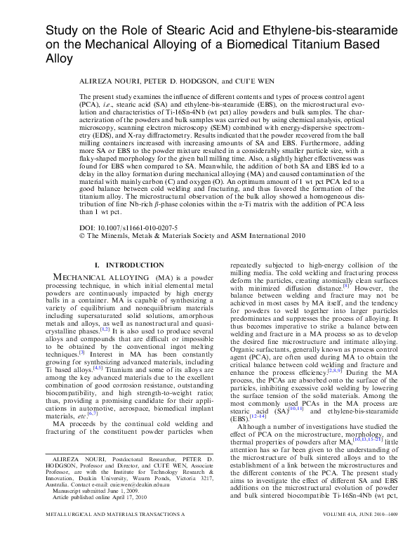 PDF) Study on the role of stearic acid and ethylene-bis