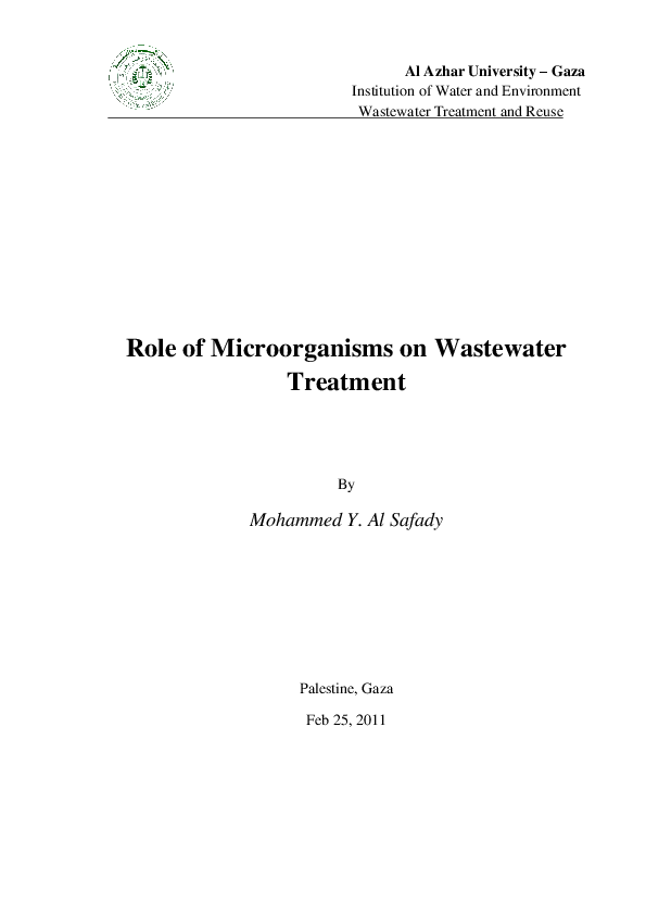 PDF) Role of Microorganisms on Wastewater Treatment