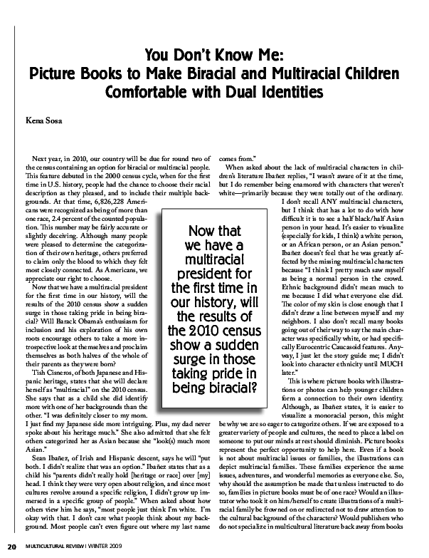 PDF) You Don't Know Me: Picture Books to Make Biracial and