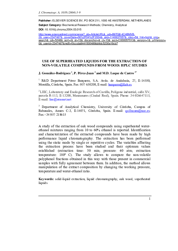 PDF) Use of superheated liquids for the extraction of non