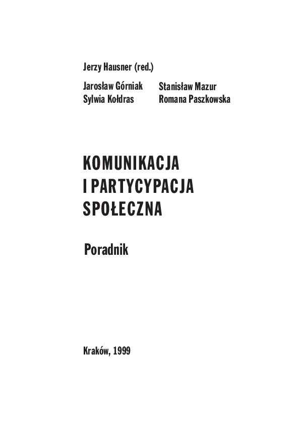 Pdf Komunikacja I Partycypacja Społeczna Jaroslaw Gorniak