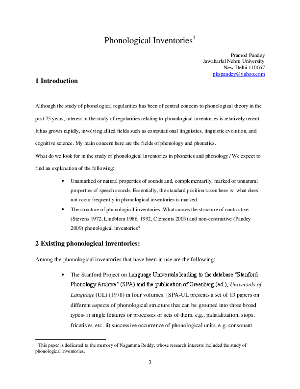 PDF) Phonological Inventories | Pramod Pandey - Academia edu