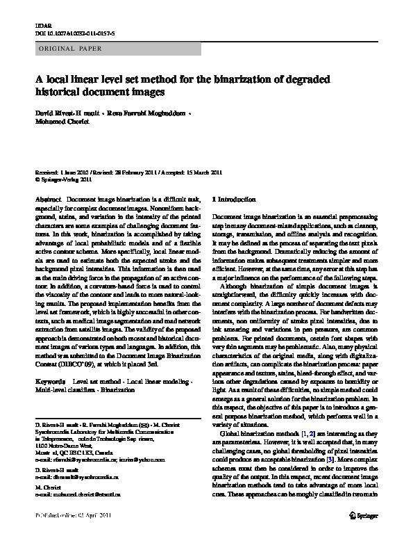 Pdf A Local Linear Level Set Method For The Binarization Of Degraded Historical Document Images Reza Farrahi Moghaddam Academia Edu