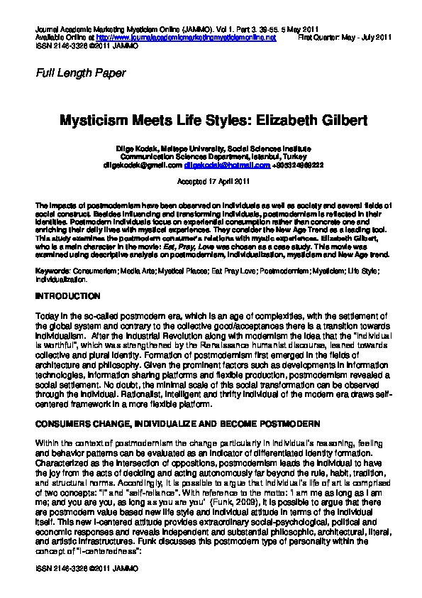 PDF) Mysticism Meets Life Styles: Elizabeth Gilbert   Dilge