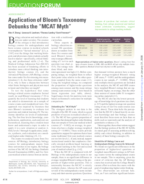 PDF) Application of Bloom's Taxonomy Debunks the``MCAT Myth