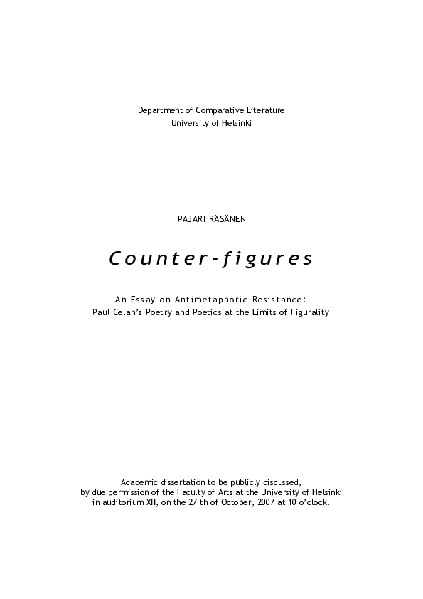 Pdf Counter Figures An Essay On Antimetaphoric Resistance