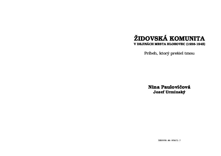 """59b7c94e4e5 PDF) """"Židovská komunita v dejinách mesta Hlohovec.(1938 – 1945 ..."""