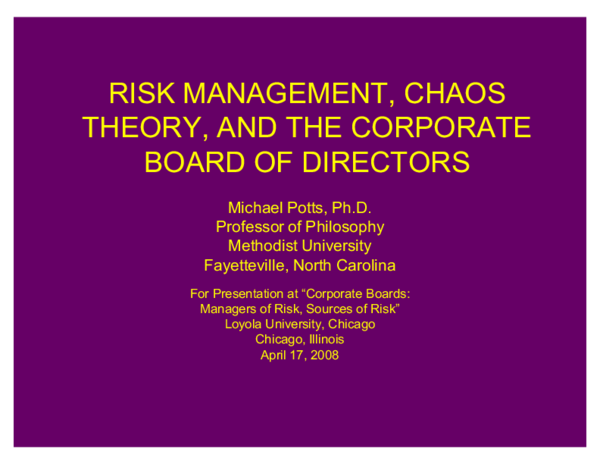 PPT) Risk Management, Chaos Theory, and the Corporate Board