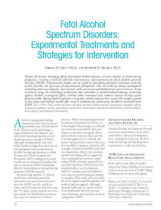 PDF) Fetal alcohol spectrum disorders: Experimental