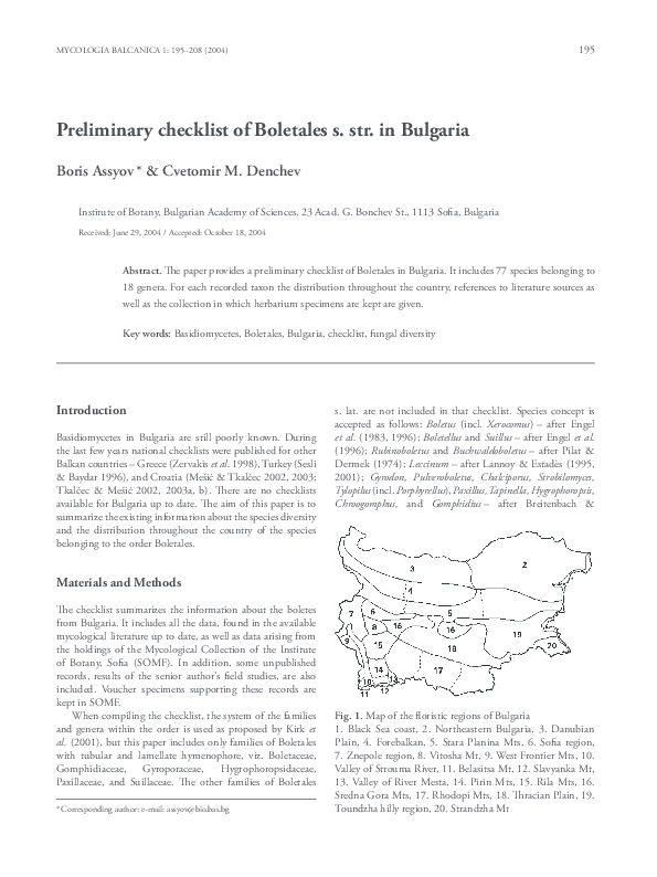 PDF) Preliminary checklist of Boletales s  str  in Bulgaria