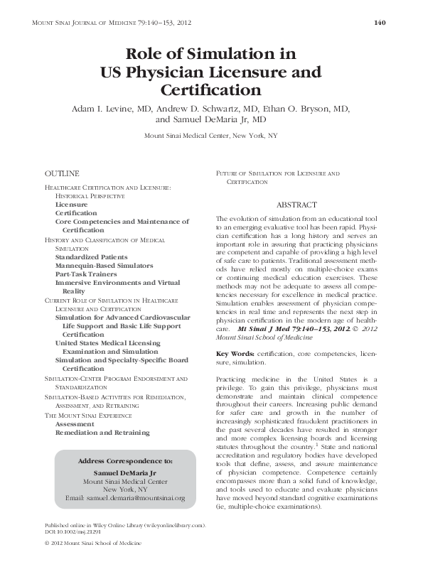 PDF) Role of Simulation in US Physician Licensure and
