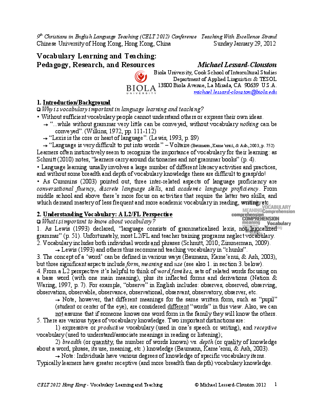 PDF) Vocabulary Learning and Teaching: Pedagogy, Research, and