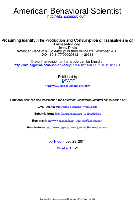 PDF) Prosuming Identity: The Production and Consumption of