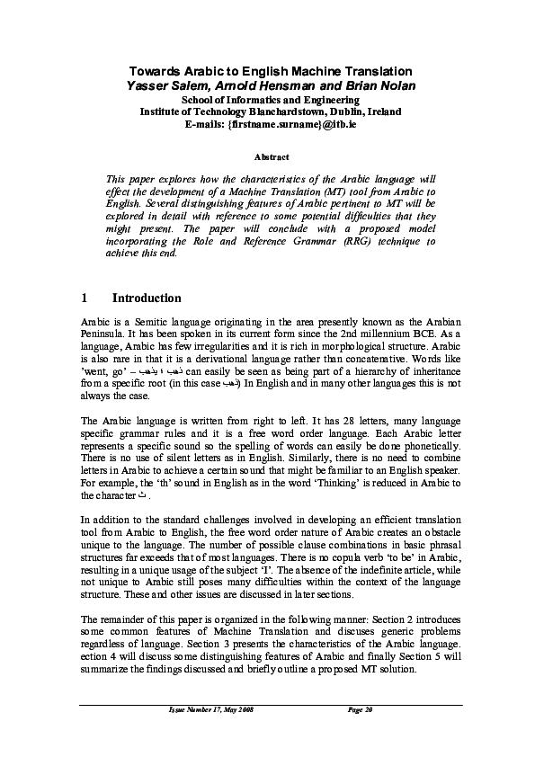 PDF) Towards Arabic to English Machine Translation Yasser