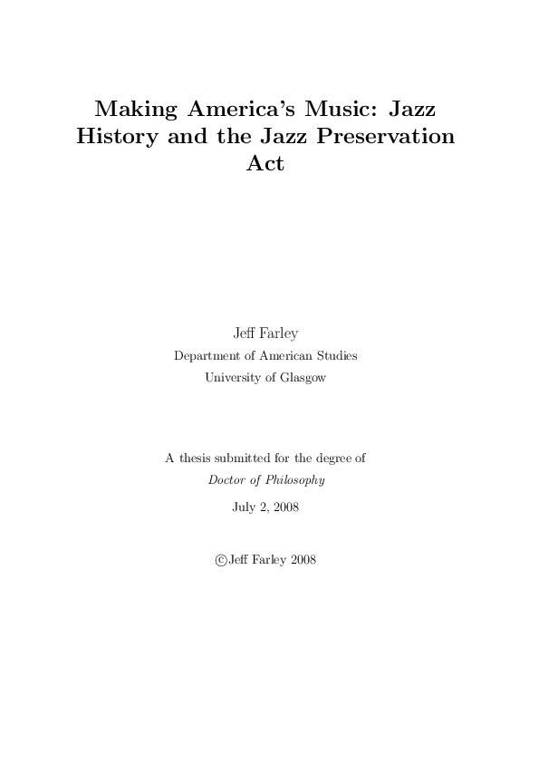 PDF) Making America's Music: Jazz History and the Jazz