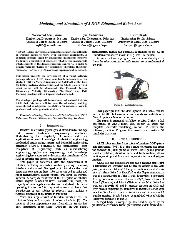 PDF) Modeling and Simulation of 5 DOF educational robot arm