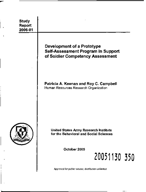 PDF) Development of a Prototype Self-Assessment Program in Support