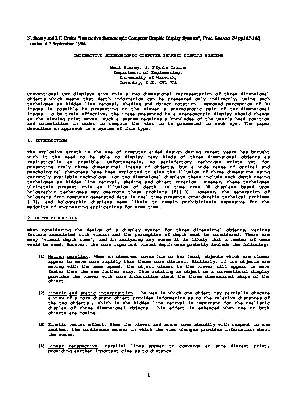 PDF) Interactive Stereoscopic Computer Graphics Display