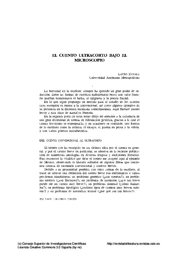 Pdf El Cuento Ultracorto Bajo El Microscopio Lauro Zavala Academia Edu