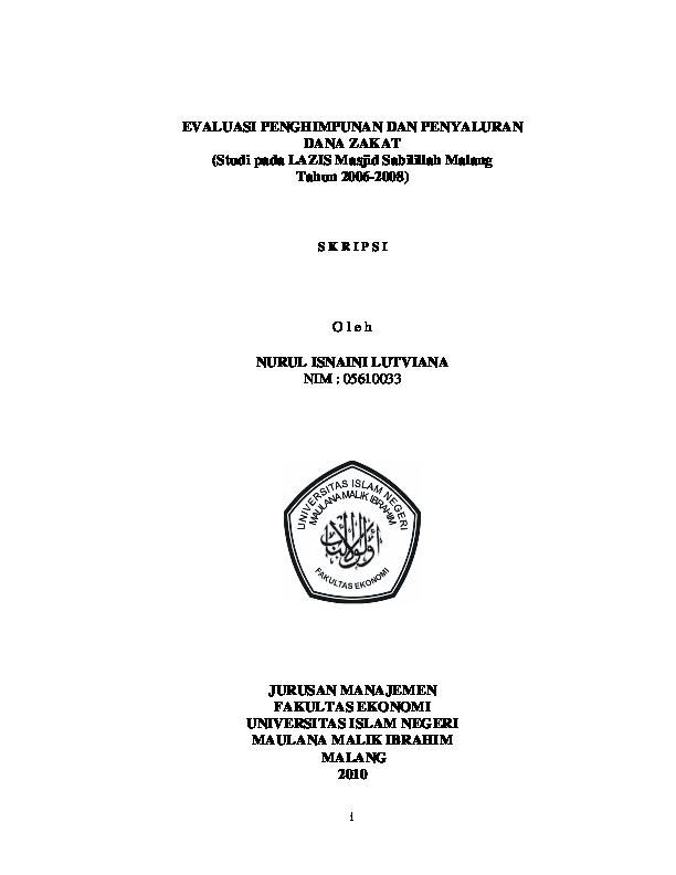 Pdf Evaluasi Penghimpunan Dan Penyaluran Dana Zakat Studi Pada