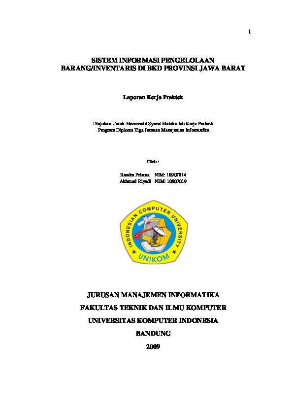 Pdf Sistem Informasi Pengelolaan Barang Inventaris Di Bkd Provinsi Jawa Barat Mutia Wahyu Academia Edu