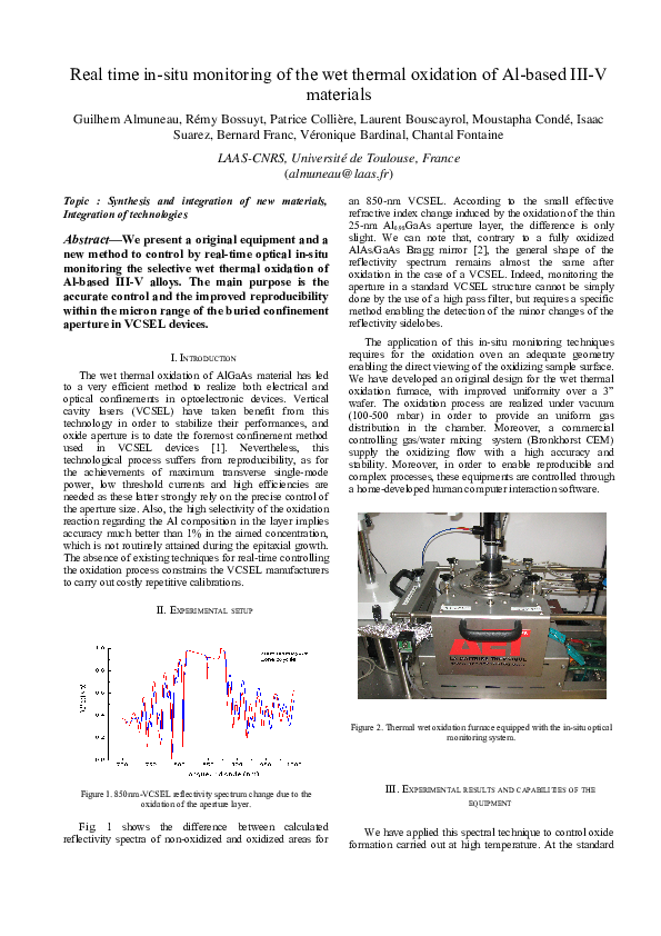 PDF) Real time in-situ monitoring of the wet thermal