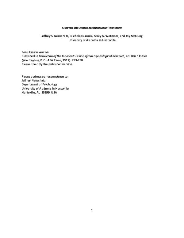 PDF) Unreliable Informant Testimony | Nicholaos Jones - Academia edu