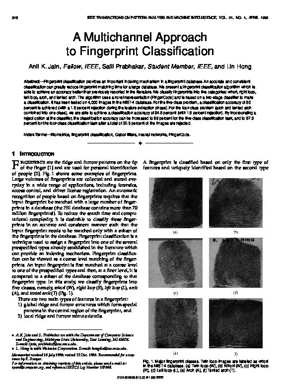 PDF) A multichannel approach to fingerprint classification
