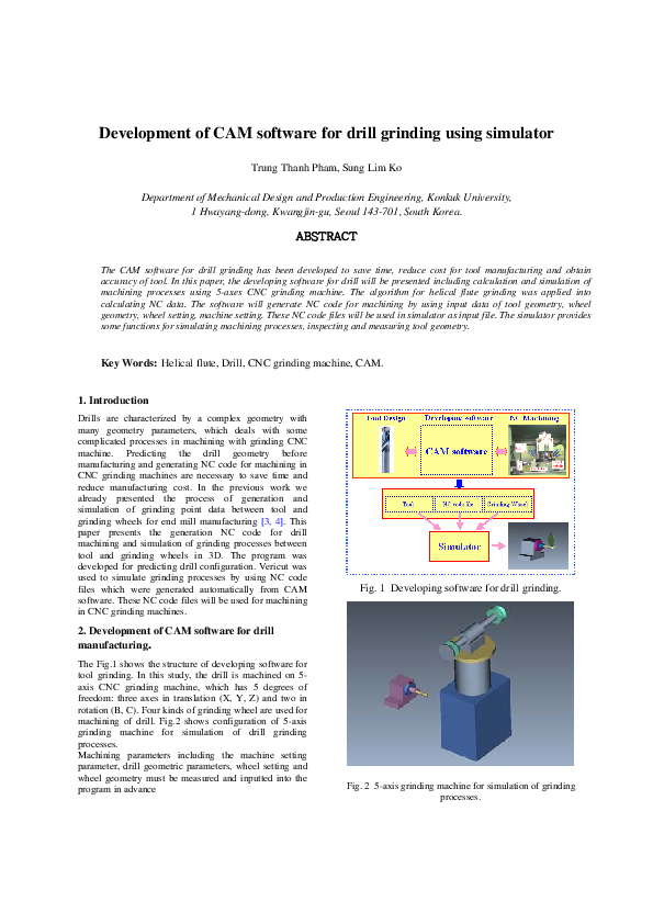 Pdf Development Of Cam Software For Drill Grinding Using Simulator Trung Thanh Pham Academia Edu