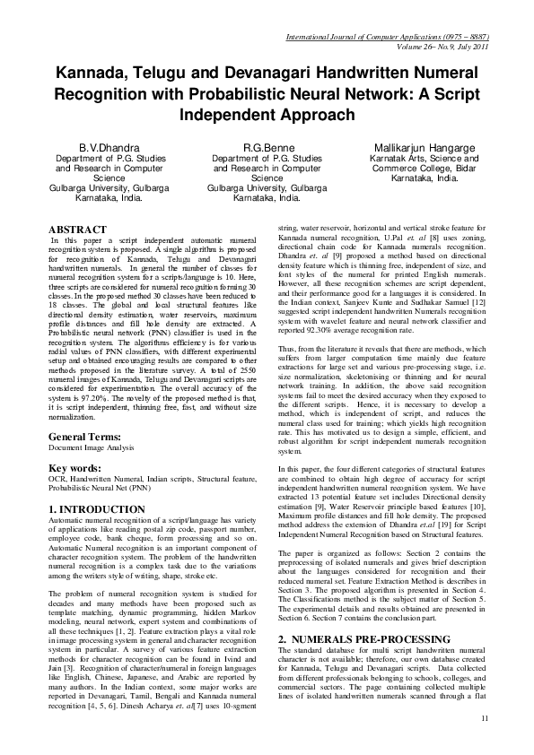 PDF) Kannada, Telugu and Devanagari Handwritten Numeral
