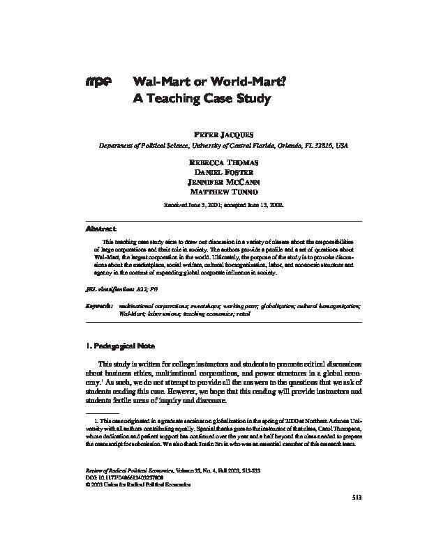 PDF) Wal-Mart or World-Mart? A Teaching Case Study